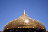 islamic wooden  dome structure on blue sky, sinai, egypt poster