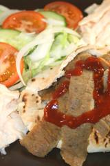 kebab and salad