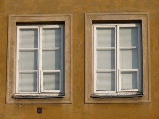 Close up of two windows with white shutters