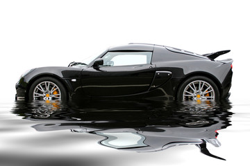 black reflecting sportcar