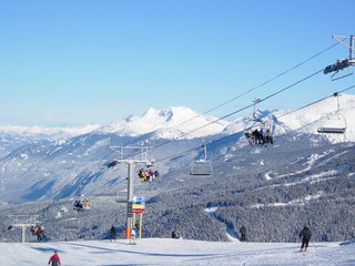 Winter mountain views with chair lifts at Whistler, Canada