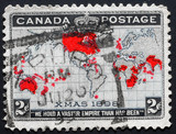 Canadian 1898 British Empire Map Christmas Stamp poster