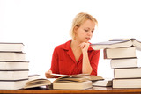 Woman reading with large books poster