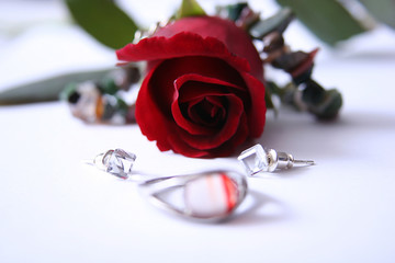 ring, rose and diamond