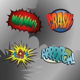 Fototapety Superhero bashing #3 - comic fighting bubbles of super heroes