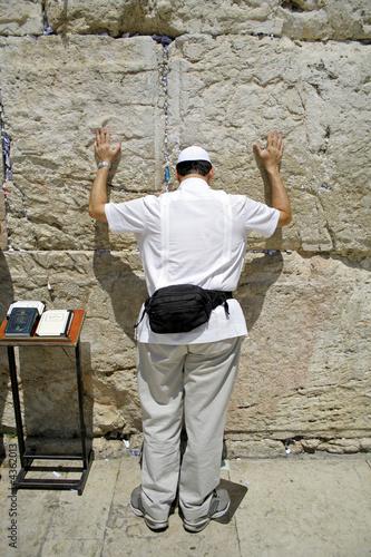 poster of American jew pilgrim at the wailing western wall, jerusalem,