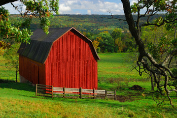 Red barn in pastoral type setting