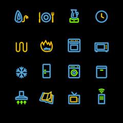 neon household appliances icons