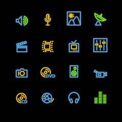 neon media icons