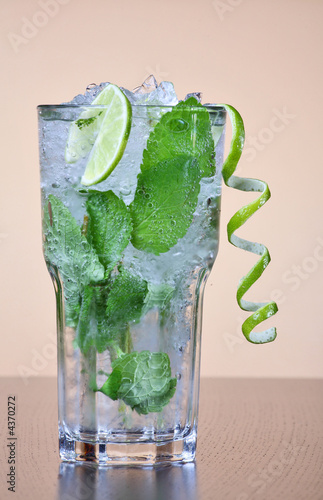 Mojito cocktail with mint leaves