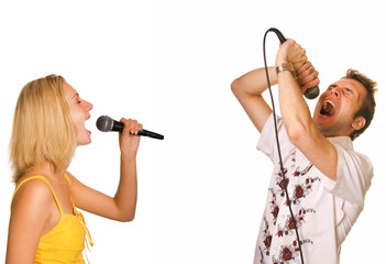 Couple singing karaoke isolated on white background