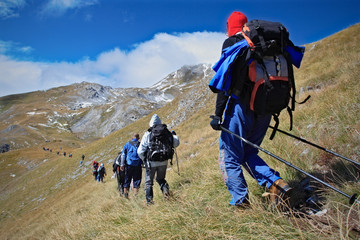 Alpine expedition going towards the peak Korab, Macedonia
