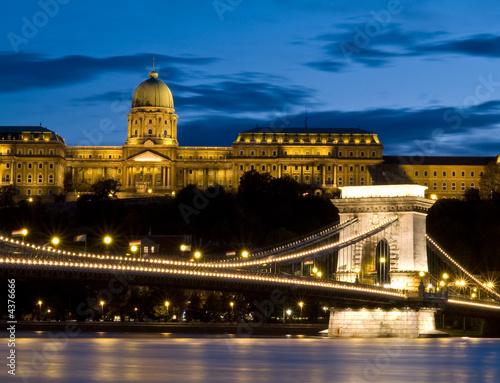 Poster Szechenyi chain bridge and Buda castle