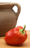 sweet red pepper and clay pot poster