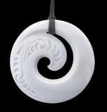 Modern Maori Koru Design Bone Pendant with Clipping Path poster
