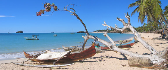 Fisherman boats in Andilana beach on Nosy Be island,Madagascar