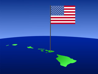 Map of Hawaii with flag