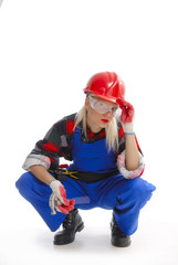 female construction worker in dungarees