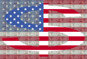 dollar symbol against twenty dollar bills and American flag