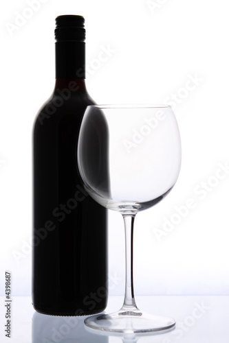 Wine Bottle and Glass плакат