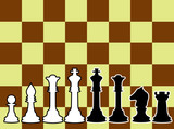 Chessmen, black and white contours.  poster