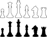Chessmen, black and white contours. Set.   poster