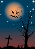 Halloween night scene. A vector illustration. poster
