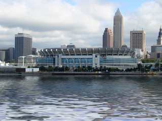 downtown cleveland from the lake