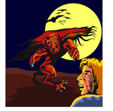Werewolf attacking a scared dude poster