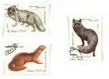 Russian post stamps with wildlife poster