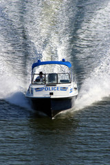 Police security speedboat at the ocean