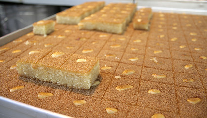 close up of arab cake on display in market