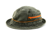 Denim hat with orange zipper poster