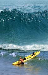 Kayaking in the ocean high waves