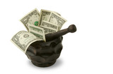 Grinding for Dollars - Wood mortar & pestle containing money. poster