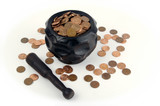 Grinding for Pennies - Wood mortar, pestle & pennies. poster