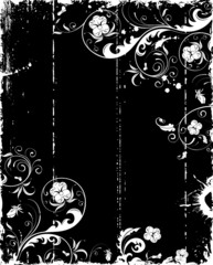 Grunge paint flower frame with blots, vector illustration