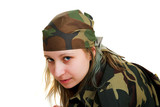 Girl in camouflage poster
