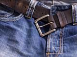 Detail shot of Fashionable denim jeans poster