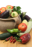 set of fresh vegetables with old clay pot poster