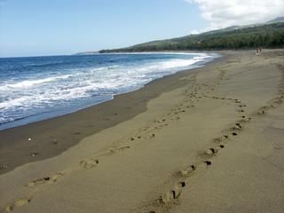 plage basaltique sous les tropiques presque...déserte