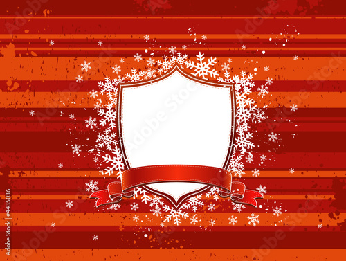 Shield, red ribbon and decorative snowflakes