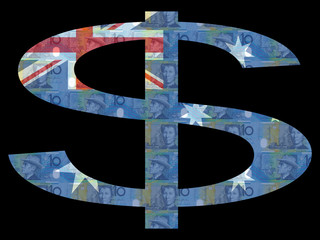 Australian Dollar flag with scanned Austraklian currency
