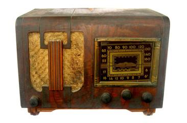 RETRO OLD BROWN RADIO ISOLATED