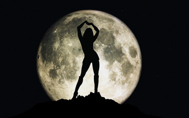 3D render of moon with stars and a girl silhouette