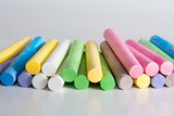 Multicolored chalks poster