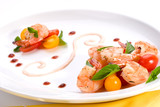 Spicy grilled shrimps and basil tomato salad poster