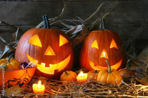 Scarved jack-o-lanterns