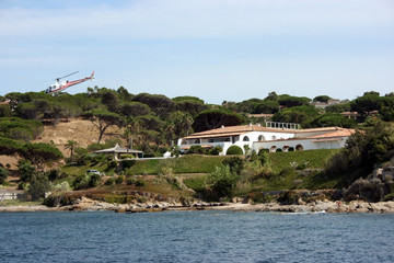 Villa with helicopter