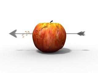 Apple earth earth hit by an arrow